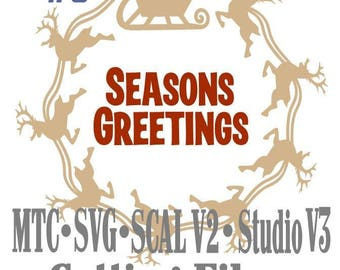 SVG Cut File Santa Sleigh with Reindeer Circle Design #05 with Seasons Greetings Cutting File MTC SCAL Cricut Silhouette Cutting File