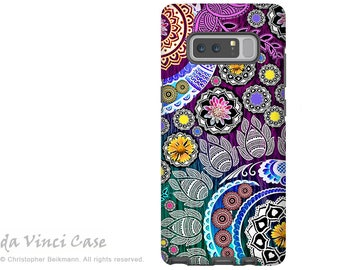 Purple Paisley Galaxy Note 8 Case - Floral Case for Samsung Galaxy Note 8 with Indian Paisley Art - Mehndi Garden - Premium Dual Layer Case