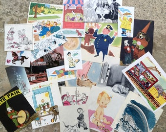 Ephemera for Card Making, Tags and Stickers, 1950s vintage Children's Illustrations