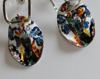 Bright Floral Handpainted Enamel Earrings
