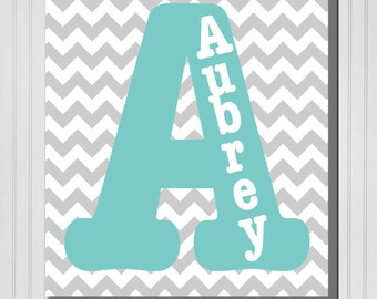 Personalized Chevron Monogram with Name (Boy or Girl) Print (Canvas or Metal)