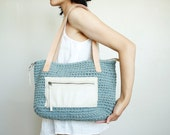 Blue crochet purse, blue crochet bag, crochet purse, upcycled bag, upcycled purse, tote bag with zipper, recycled bag, T-shirt yarn bag