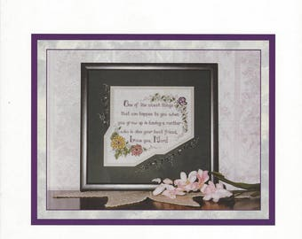 """Clearance-""""Mom"""" Counted Cross Stitch Chart by Lavender Wings"""