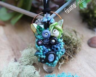 Mermaid Garden Pendant, Mermaid Garden Necklace, Crystal Seashell Jewelry, Handsculpted Wearable Art Pendant, MuShie Necklace, Vegan Suede