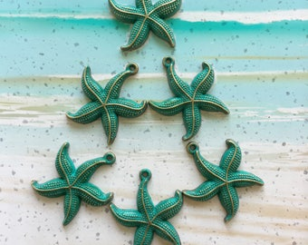 Handpainted Verdigris Patina Starfish Charms (18008) - 27x23mm