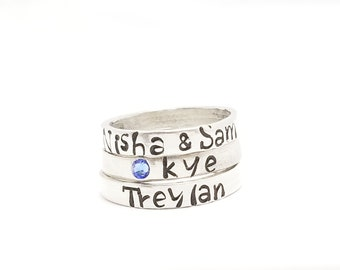 Stamped Ring, Thin Stacking Ring, Stackable Name Ring, dainty name ring, personalized ring with your word choice, mom ring, stacking ring
