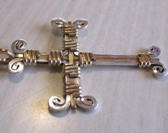 Sterling Silver and Gold Tone Wire Wrapped Cross Pendant