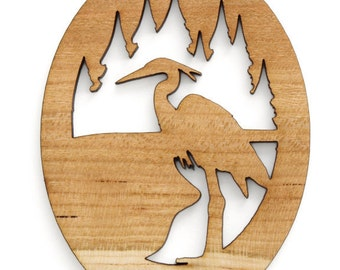 Crane or Heron Ornament - Made in the USA with sustainably harvested wood! - Timber Green Woods - Made in the USA!