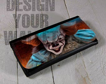 womens wallet, pennywise, wallet, womens leather wallet, bifold wallet, pennywise wallet, pennywise the clown, artwork, clutch, IT inspired,