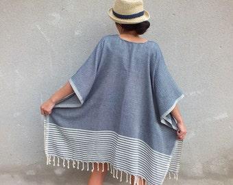 Boho Kimono Fringe Tassel Kimono Poncho Cotton Beach cover up Long Kimono jacket Bohemian Chic