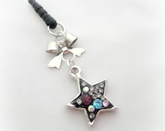 Black crystal star phone dust plug charm, earphone jack charm for iPhone Smartphone