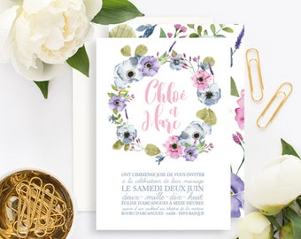 Floral Wedding invitation with white envelope - Wedding invitation - Floral Wedding - Boho Wedding Rustic Wedding Floral wedding Invitation