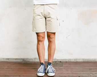 Beige Cargo Shorts . 90s Mens Short Pants Resort Wear Beige Chino Shorts Summer Shorts Casual Bottoms Everyday Clothing . size Small S