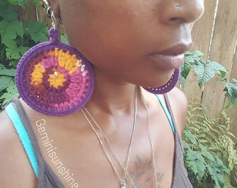 Batik Sol Crochet  Earrings