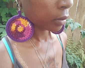 Batik Sol Crochet Ohrringe