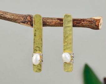 Gold pearl stud earrings, hammered bar earrings, long studs, brass jewelry, rectangle stud, handmade earring, adorned jewelry, minimal stud