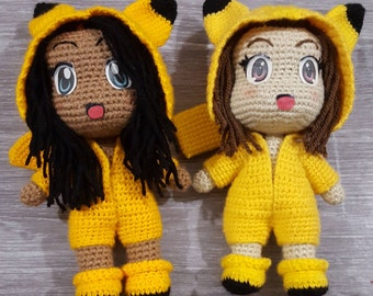 PATTERN ONLY: Chibi Doll Base with Pikachu Inspired Onesie