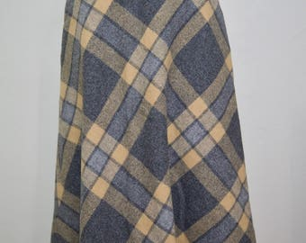 1970s / 70s gray and brown wool skirt