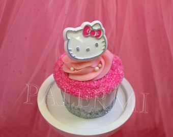 12 Hello Kitty Foil Cupcake Ring Toppers, Sanrio Hello Kitty Cupcake Topper