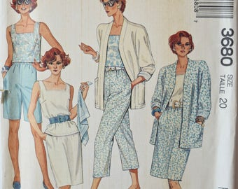 """Vintage 1980's Sewing Pattern McCalls 3680 Misses' Separates Unlined Jacket Top Skirts Pants and Shorts UNCUT Factory Folds Size 20 Bust 42"""""""