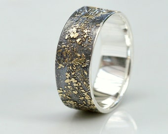 Gold Chaos 8mm Wide - Wide Wedding Band in 18kt Gold and Sterling Silver for Men