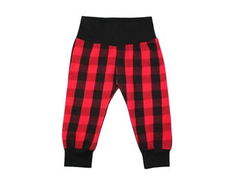 Red Buffalo Plaid Leggings - Red Plaid Leggings - Girls Leggings - Boys Leggings - Christmas Pants - Baby Leggings - Christmas Leggings
