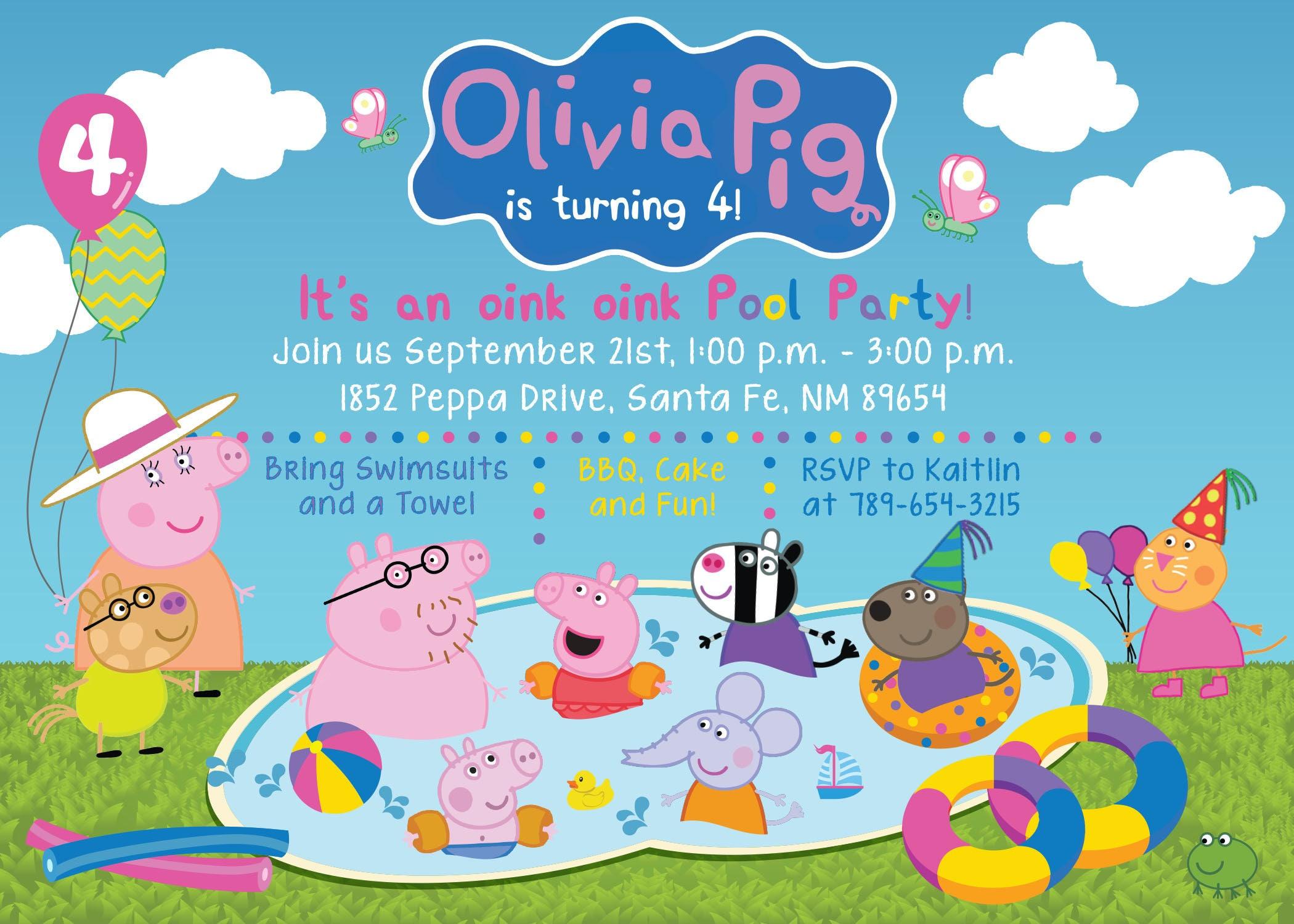 Custom Peppa Pig Friends Pool Party Pool Bash Birthday