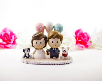 Wedding Cake Topper - Anime Balloons and Pet Dogs Toppers - cute wedding cake topper
