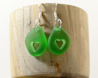 Green Sea Glass Earrings Heart Earrings Beach Lovers Gift Seaglass Jewelry Beach Glass Earrings Beach Wedding