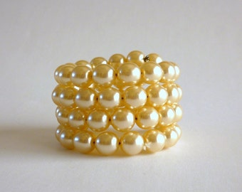 Faux Pearl Glass Bead Wrap Bracelet