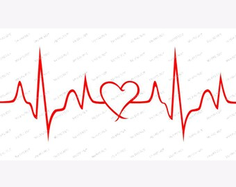 Heartbeat line with heart  template