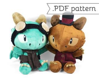 Chibi Steampunk Dragon Plush Sewing Pattern .pdf Tutorial