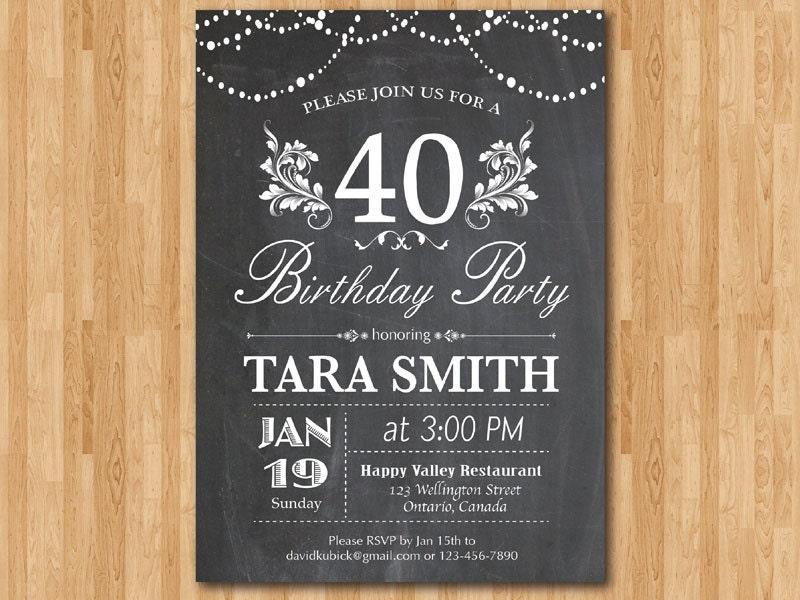 40th birthday invitation. Chalkboard Surprise Birthday. Floral