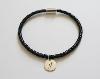 Leather Bracelet with Sterling Silver Cursive J Letter Charm, Bracelet with Silver Letter J Pendant, Initial J Charm Bracelet, J Bracelet