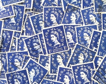 Dark Blue, used, British, 1d wilding postage stamps all off paper for collage, stamp collecting, scrapbooking, stamp art, crafting