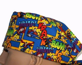 Superman Scrub Hat, Vet Tech Scrub Hat, Scrub hats, scrub caps, Personalized scrub cap