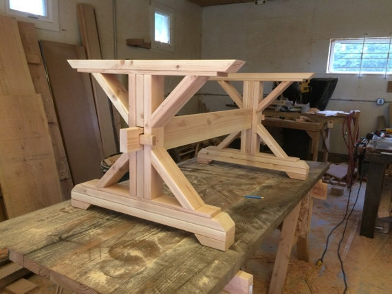 Lovely Farmhouse Trestle Table DIY Kit   Made To Order