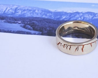 Custom Landscape Mountain Ring, 8mm band, Mountain Wedding band, Handmade Mountain Ring, Recycled Silver, Gold or Platinum, Wedding Rings