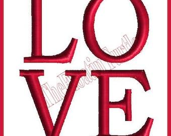 Love Valentine's Embroidery Design machine Embroidery Design LOVE Stacked satin stitch embroidery design