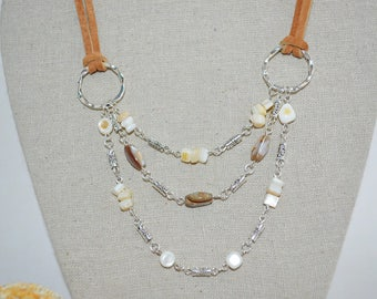 Necklace Leather & Shells, Leather and Shell Bead Necklace, 3 Strand shell Beaded Necklace, Suede and Shell Necklace, 1 of a kind Necklace