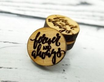 12mm   Mini bois pour toujours et toujours la citation disant Word Art gravé mariage   Cabochons de Stud boucles d'oreilles embellissements   Découpé au laser
