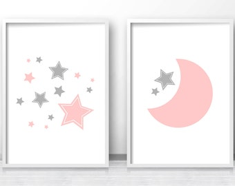 Moon And Stars Nursery Prints, Printable Nursery Art, Pink Gray Nursery Decor, Baby Girl Prints, Baby Wall Art, Set Of Prints For Nursery