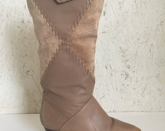 Vintage 70s Patchwork Leather Boots Taupe Suede Made in Brazil Size 6