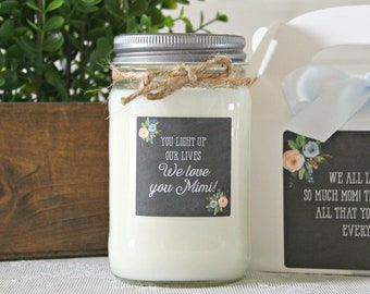 We love you Mimi / You light up our lives gift candle / We love you Nana / We love you Grandma / Gift For Her / 16 oz Soy Candle