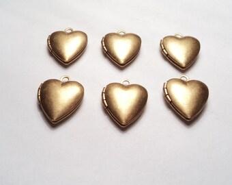 6 pcs - Brass Heart mini Lockets - m258