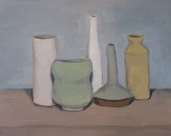 oil painting of vases, vase oil painting, still life of vases