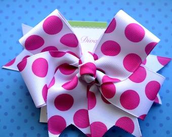 Hot Pink Dots XL Diva Bow