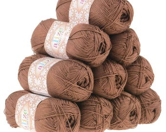 10 x 50g crochet/knitted yarn Alize Forever, #150 Brown