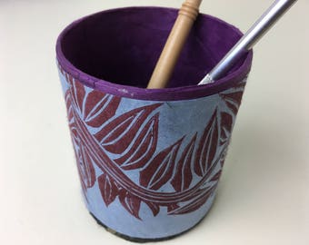 block-printed round box, pencil holder, desk storage, small container with fern print design