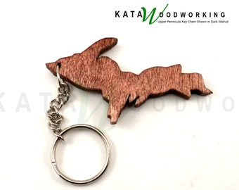 Michigan  Upper Peninsula shaped wood key chain - Handmade!